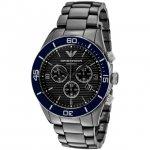 Emporio Armani Black Ceramic Navy Bezel Chronograph Watch AR1429