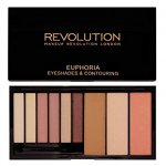 Makeup Revolution London Euphoria Palette Bare 18g, Shade Bare, Eye shadow pallete and contour kit (60322)