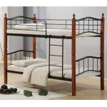 BUTTON κρεβάτι κουκέτα Μέταλλο μαύρο/Ξύλο καρυδί Ε8038