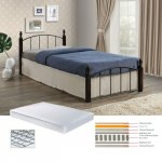 ARAGON Set Κρεβάτι Μονό Μαύρο/ Καρυδί + Στρώμα Contin.Spring Ε8096,S