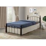 ARAGON κρεβάτι μονό Μέταλλο μαύρο/Ξύλο καρυδί Ε8096