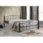 ADEL κρεβάτι διπλό Μέταλλο μαύρο/Ξύλο καρυδί Ε8206