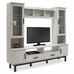 Σύνθετο σαλονιού Bonito pakoworld TV χρώμα white wash-ebony 200x43x180εκ