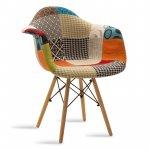 Πολυθρόνα Julita pakoworld ύφασμα patchwork πολύχρωμο - φυσικό