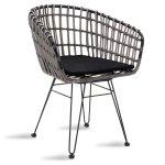 Πολυθρόνα κήπου Naoki pakoworld μαύρο μέταλλο-pe γκρι