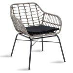 Πολυθρόνα κήπου Naoki pakoworld μέταλλο μαύρο-pe γκρι