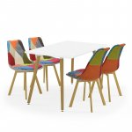 Tραπεζαρία Bueno σετ  5τμχ λευκό χρώμα-κάθισμα patchwork 120x80x76εκ